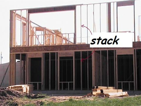 framing and building walls - example of a stack