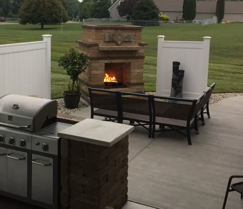 Backyard with stone fireplace